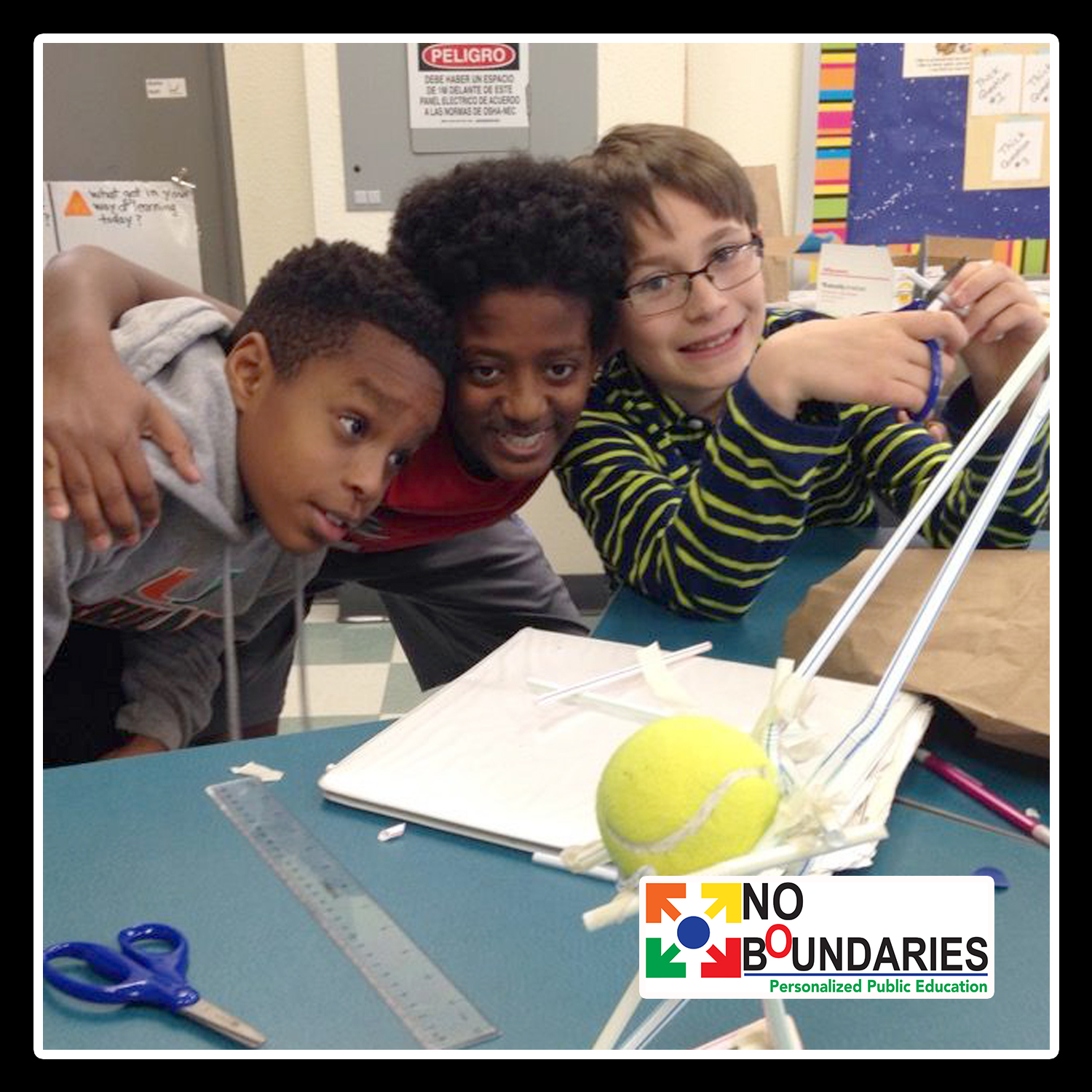 Boys playing with Makerspace Demonstrations