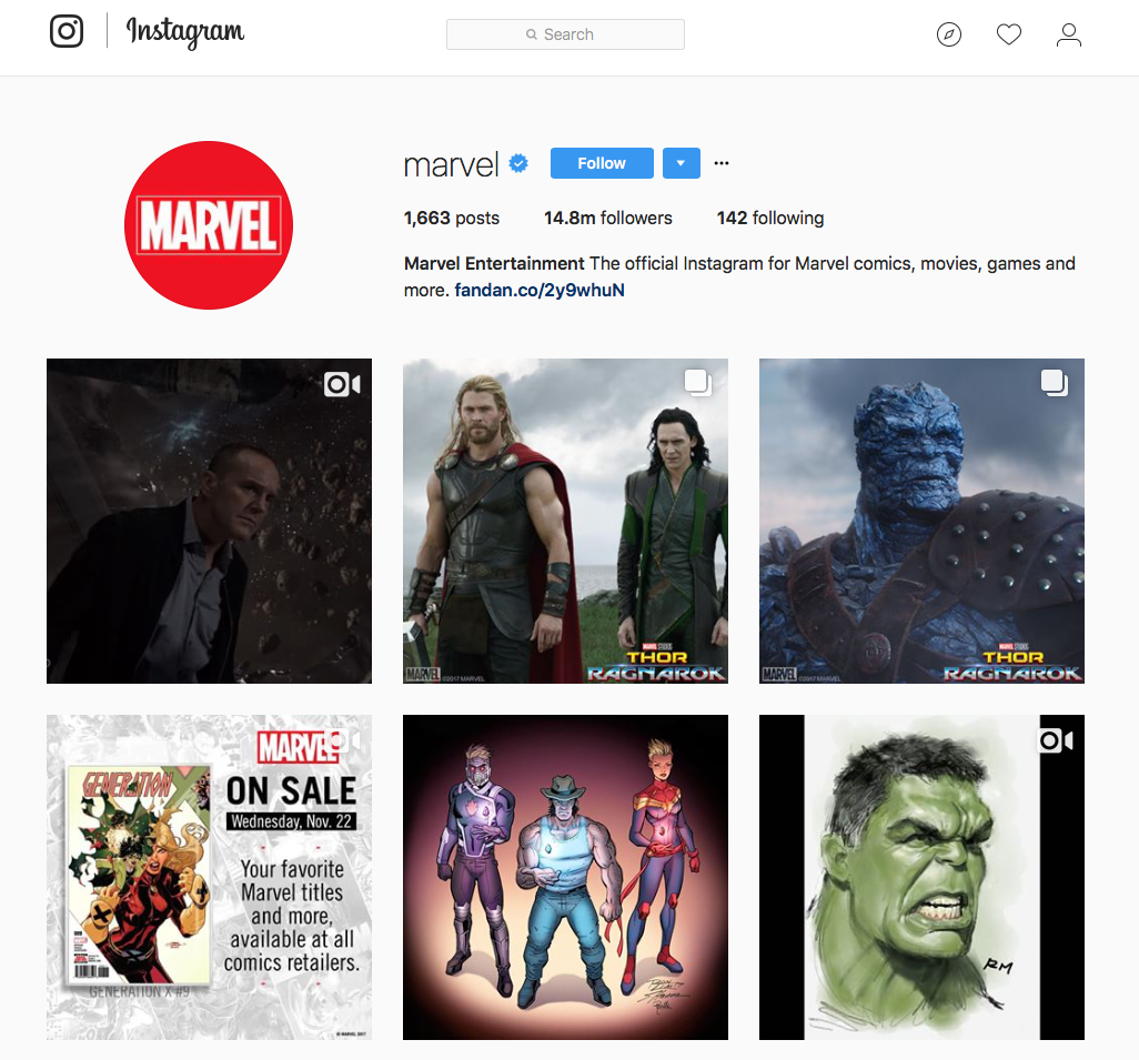Marvel Instagram