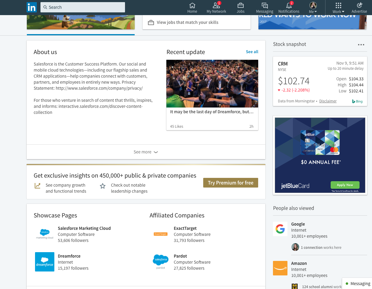 Showcase area for Salesforce