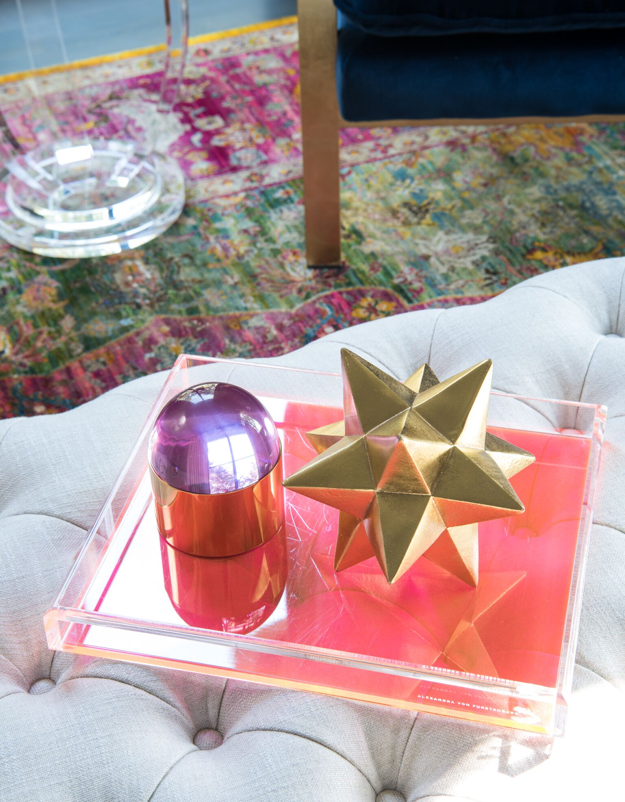 Gold geometric star and acrylic tray accessories by Laura U Interior Design
