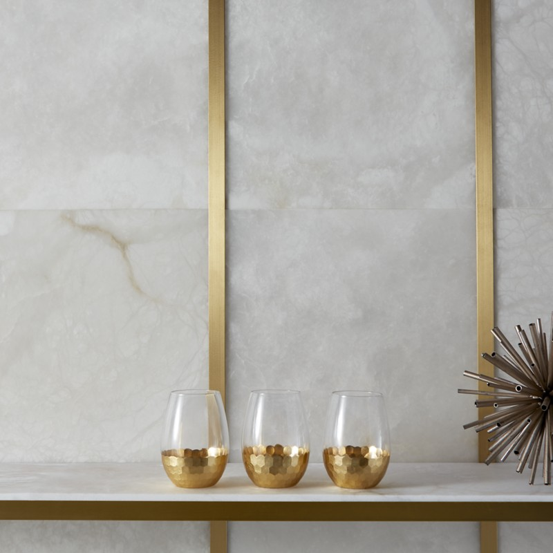 Creamy alabaster and gold metallic tile from Ann Sacks - Laura U Interior Design