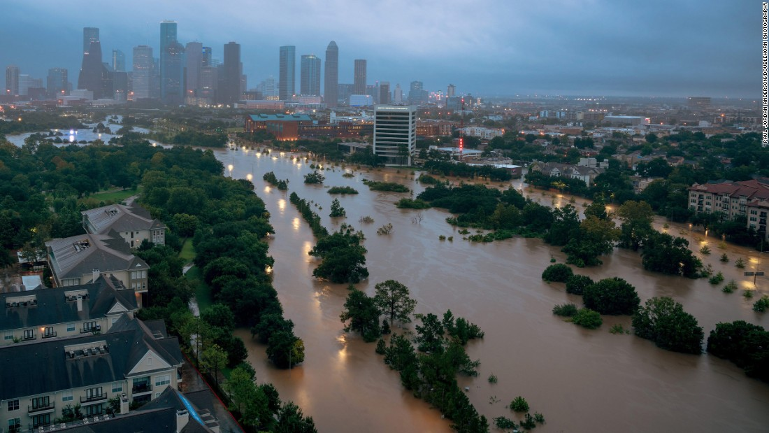 The Buffalo Bayou floods parts of Houston on August 27.