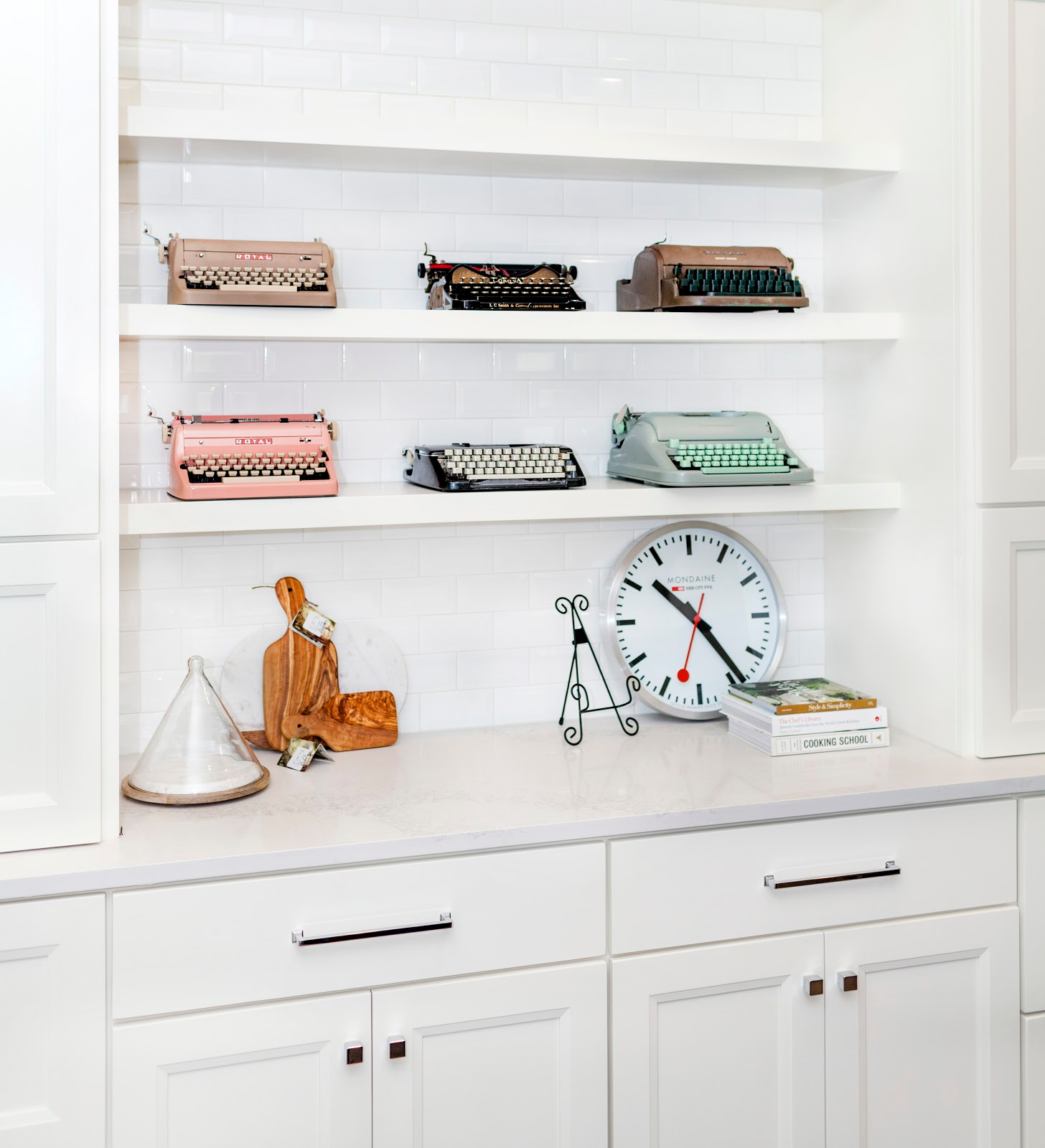 Vintage typewriter collection in modern kitchen - Laura U Interior Design