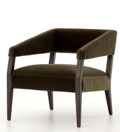 Four Hands - Gary Club Chair. It has Mid Century, contemporary details covered in an olive velvet upholstery
