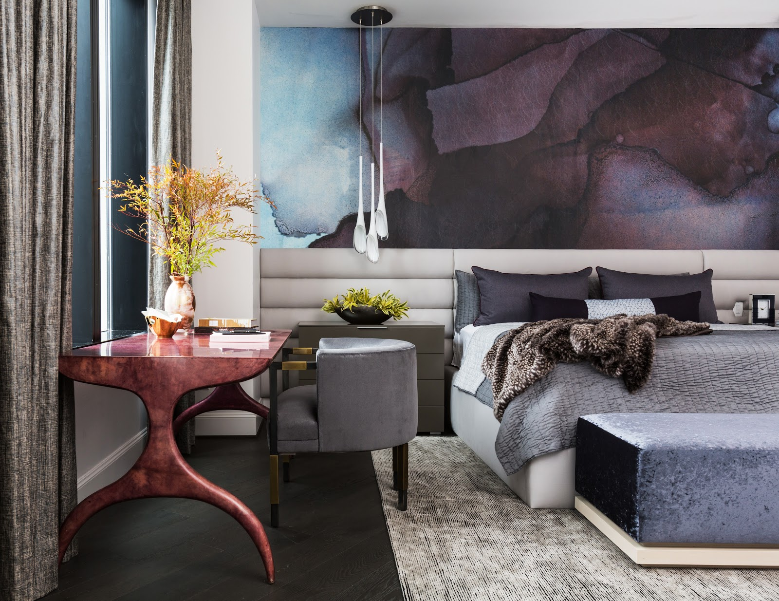 Custom panoramic neutral headboard with large scale plum watercolor wallpaper in master bedroom - laura u interior design