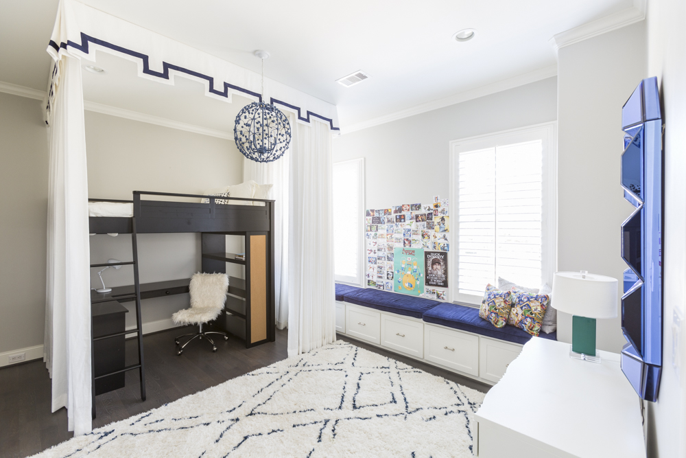 Bright modern white and blue kids room with desk under bunk bed - Laura U Interior Design