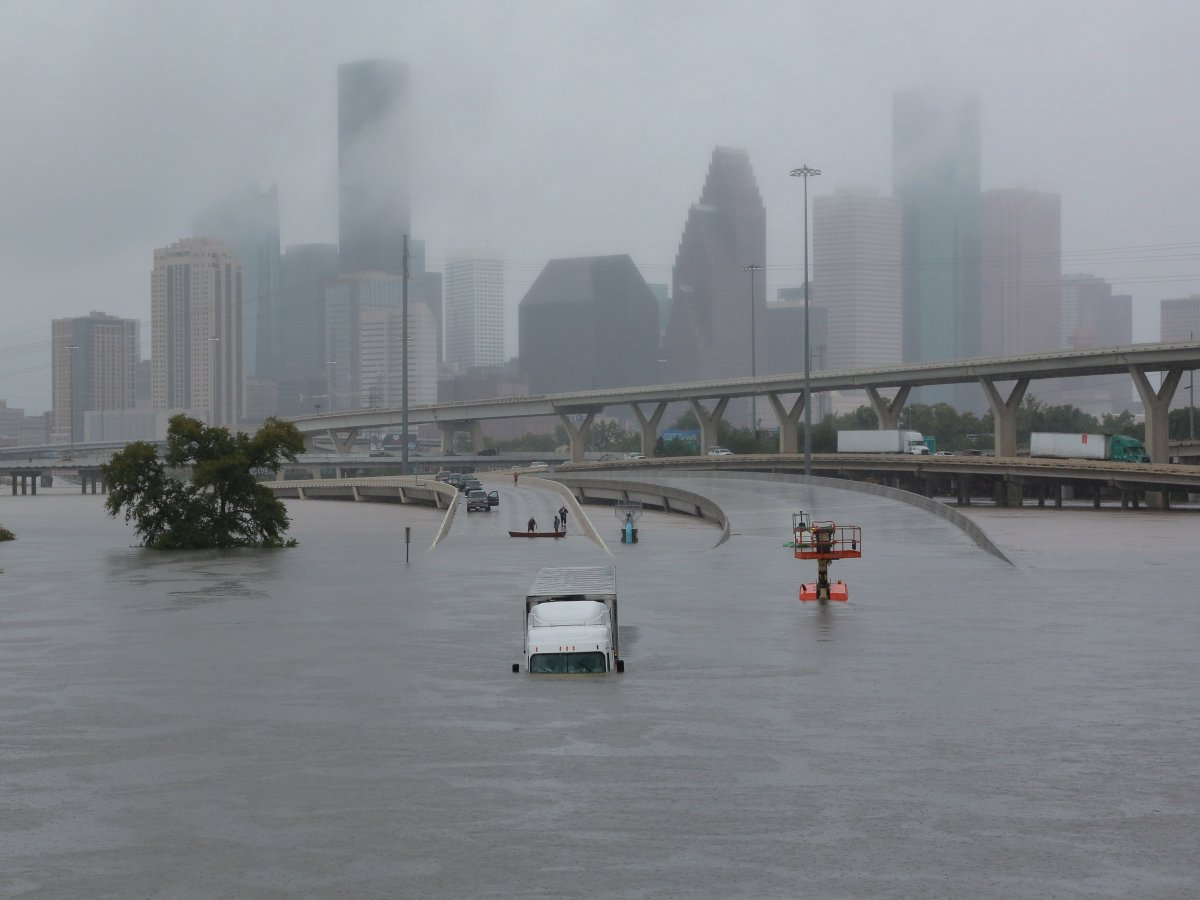 Submerged freeways from the effects of Hurricane Harvey are seen during widespread flooding in Houston.