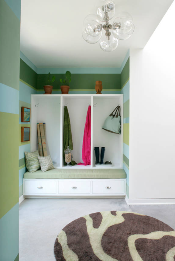 Vibrant green striped mudroom by Dufner Heighes Inc.