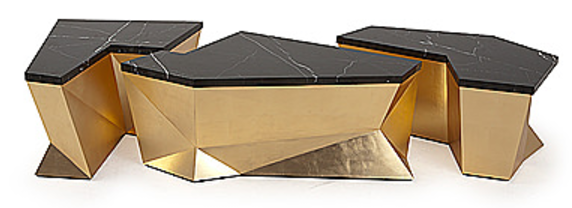 Monumental Coffee Table from Christopher Guy - 3 geometric, gold, and marble top pieces