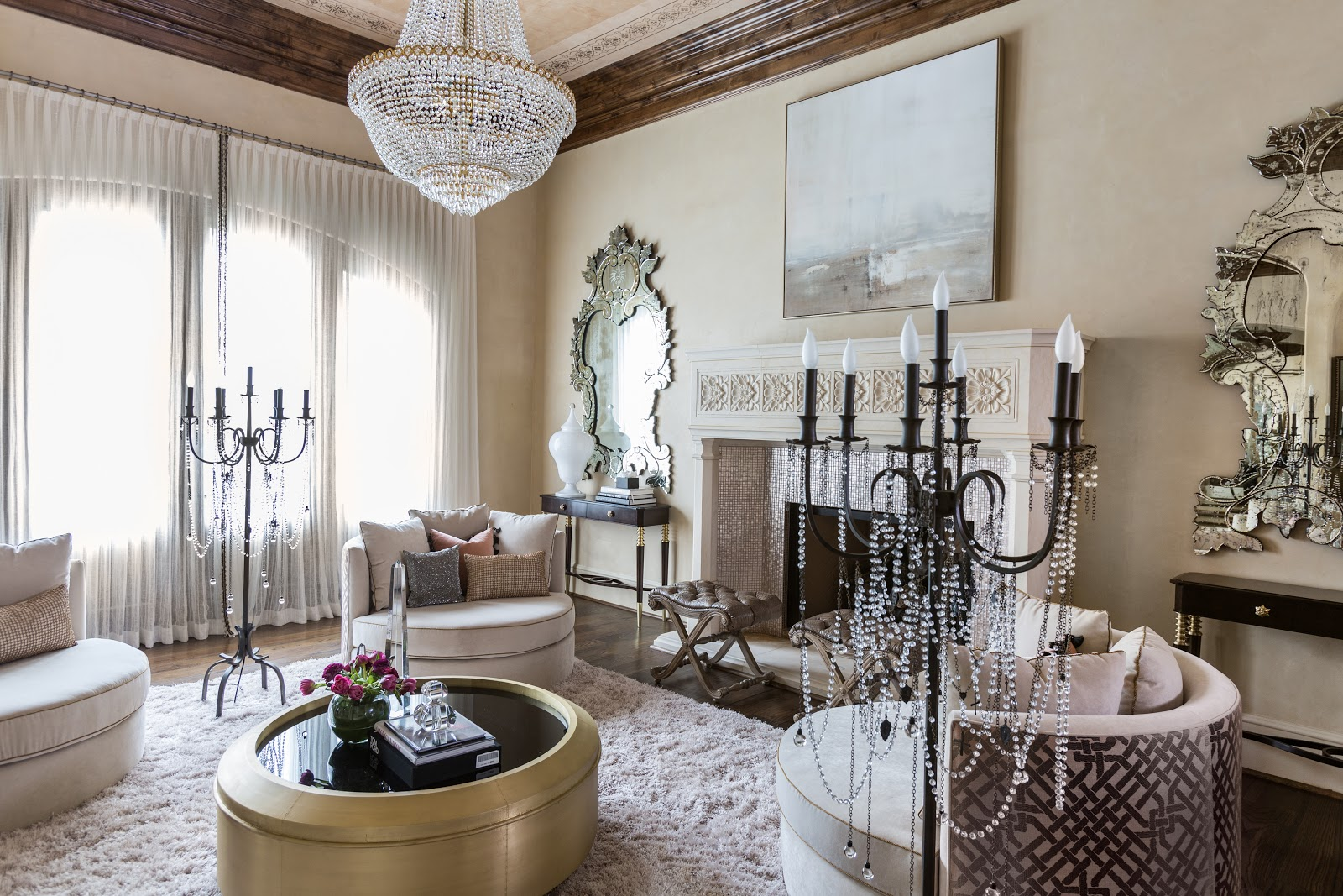 Antique chandelier in luxurious living room - Laura U Interior Design