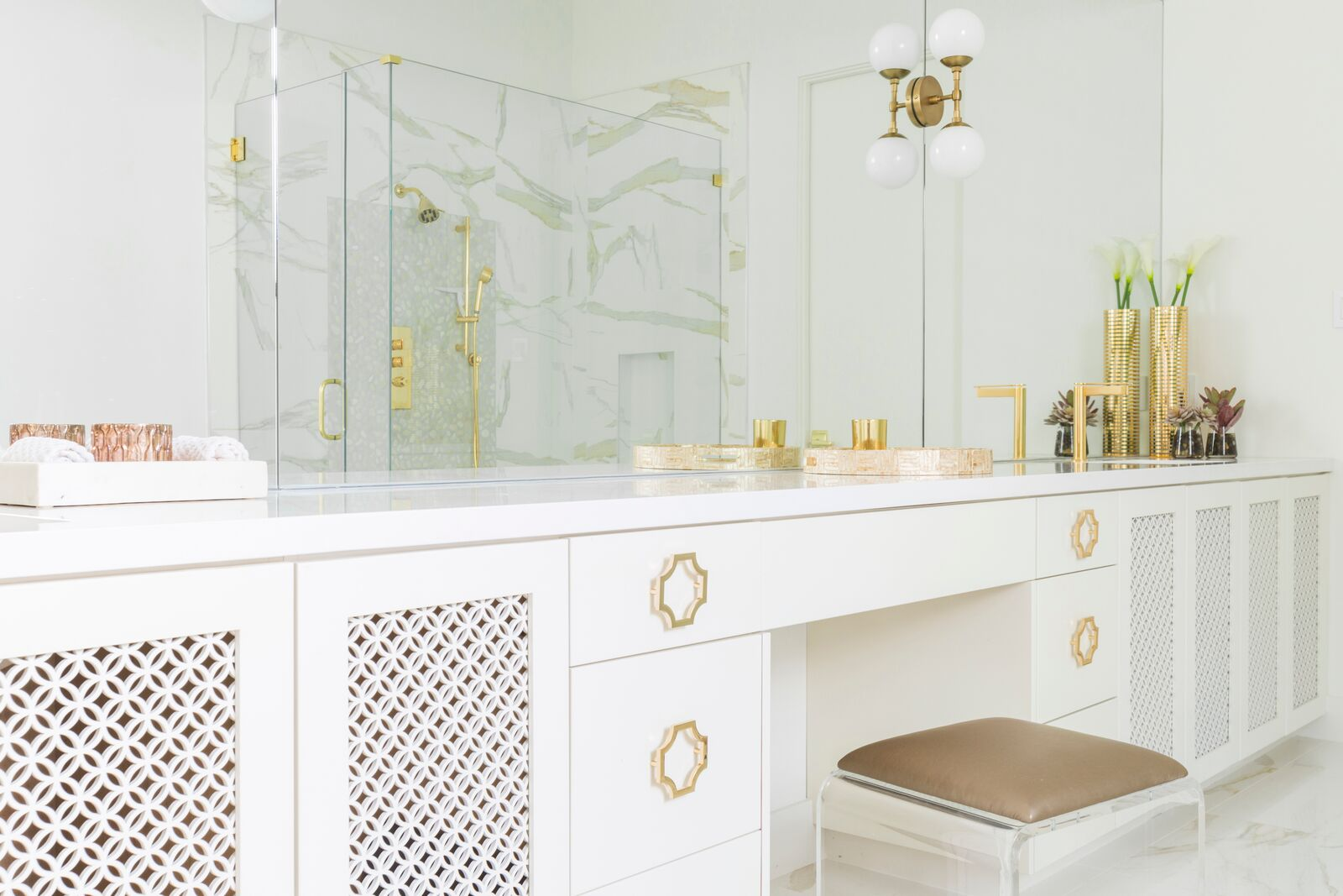 All White Bathroom, Gold Accents, Tiled shower, Laura U Interior Design