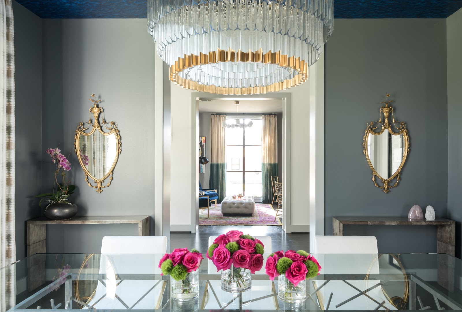 Gold ornate vintage mirrors in transitional dining room - Laura U Interior Design