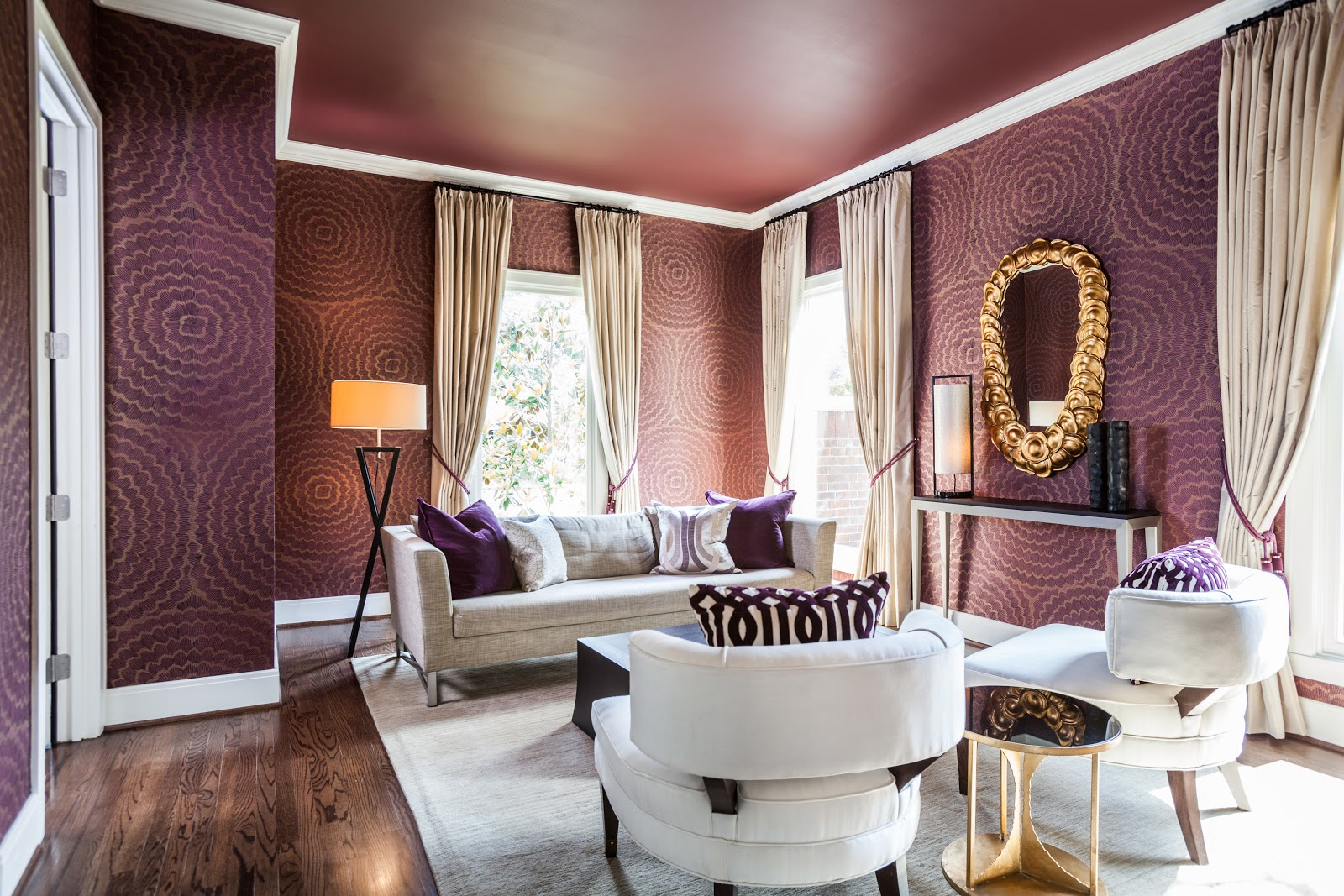 Designing your new home. Deep Purple Sitting Room, Neutral Furniture