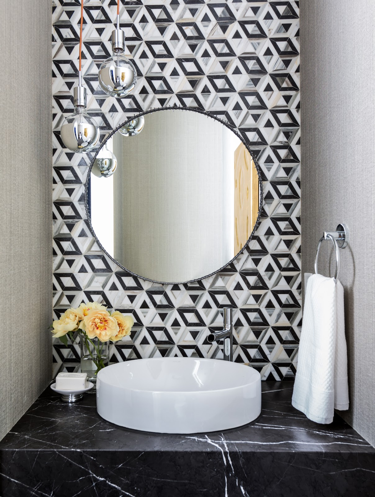 Liaison Kelly Wearstler tile by Ann Sacks - Laura U Interior design black and white powder bathroom