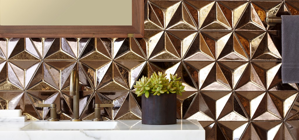 Daniel Ogassian copper geometric tile by Ann Sacks - Laura U Interior Design