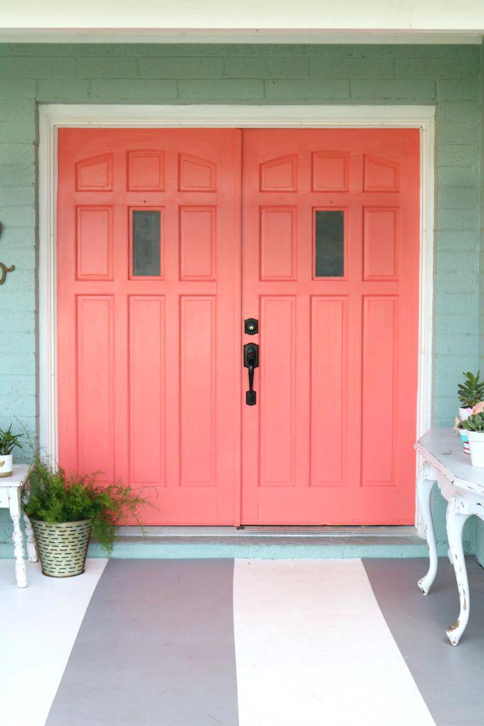 Selecting your front door, Salmon double door, Bright Entry
