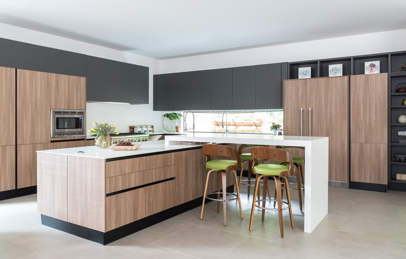 Minimal organic kitchen with green barstools and wood paneling - Dbh-biz.info Interior Design