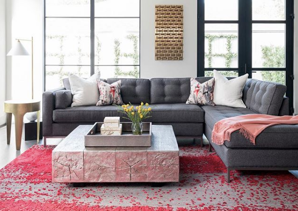 Charcoal gray sofa with metallic accents coffee table and vibrant red rug - Laura U Interior Design