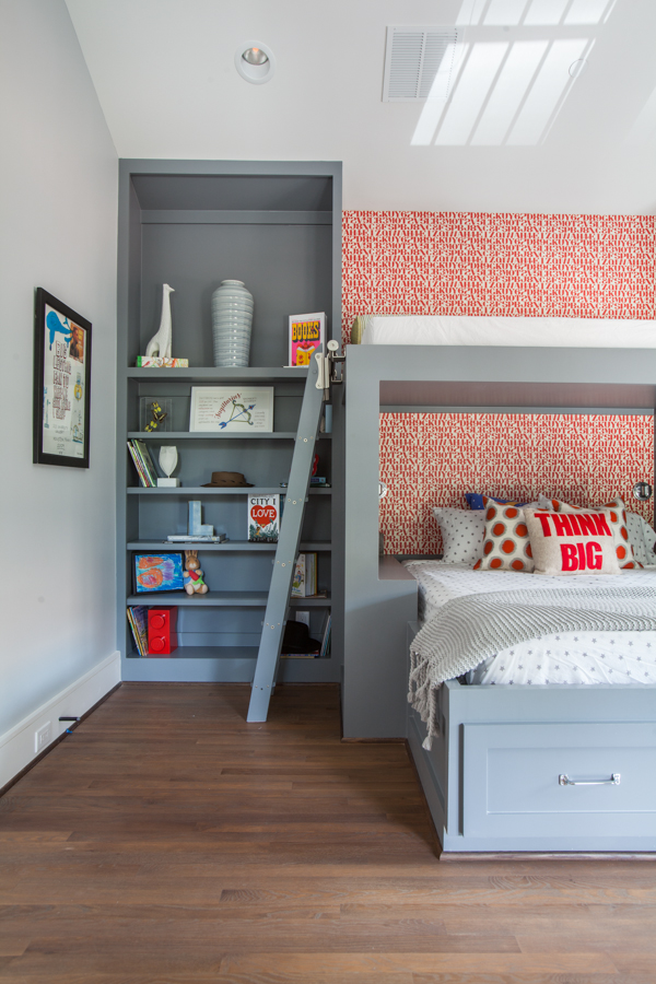 Modern kids room with gray bunk bed and funky wallpaper - Laura U Interior Design