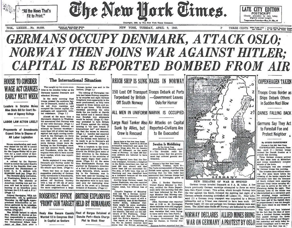 (Norway attacked and Oslo bombed, April 9th, 1940. Photo: Microfiche-New York Times archives, McHenry Library, U.C. Santa Cruz)
