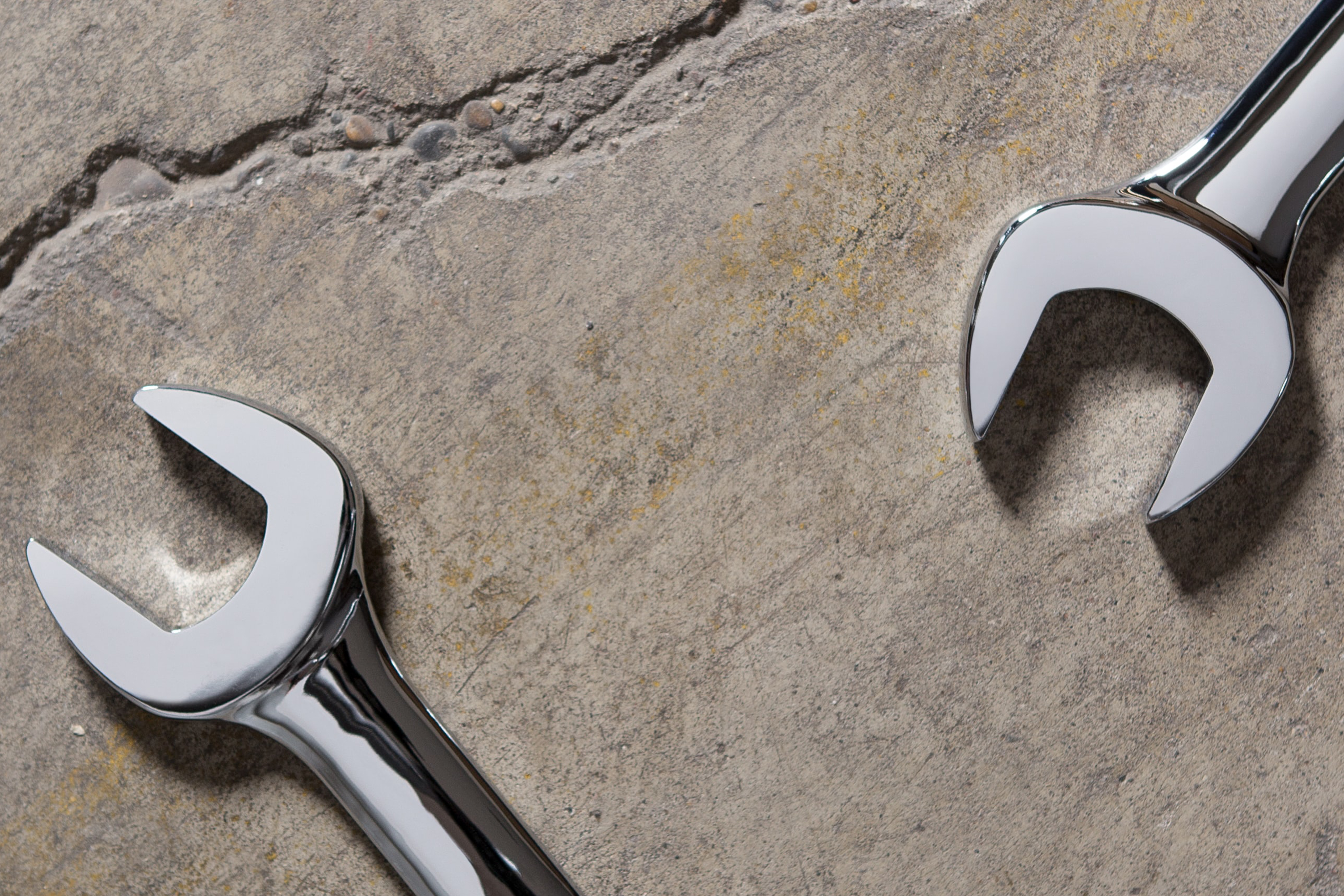 Wrenches on concrete for home care and repair