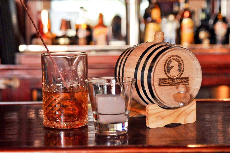 Whtie Horse Lounge's mixed drink and barrel.