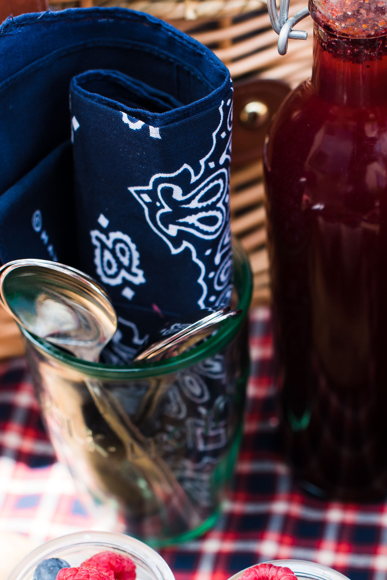 Blue bandana and silverware for an eco-friendly red, white and blue picnic.