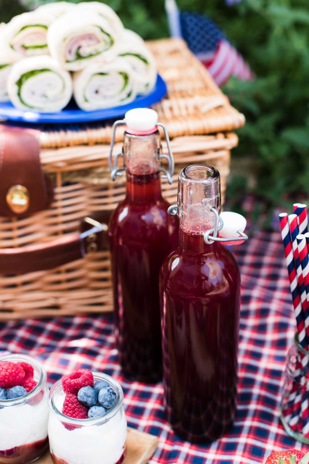 Blueberry Ginger-Basil Soda at a red white and blue picnic.