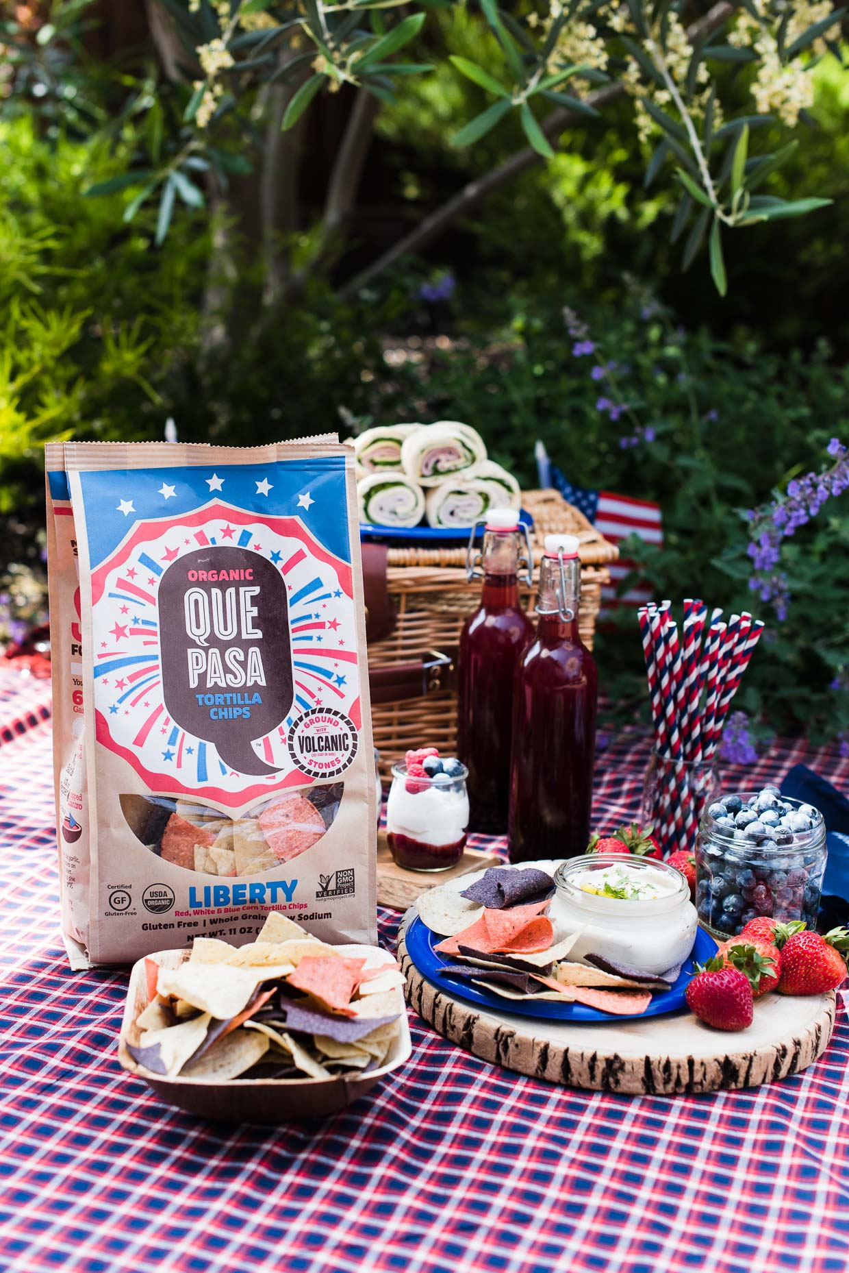 Eco-Friendly, Red, White, and Blue Picnic Ideas, from food to drink to decoration.