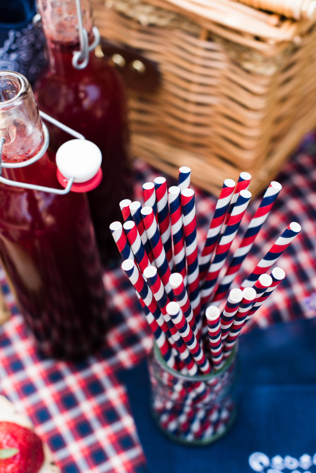 Paper straws at an Eco-Friendly, Red, White, and Blue Picnic!