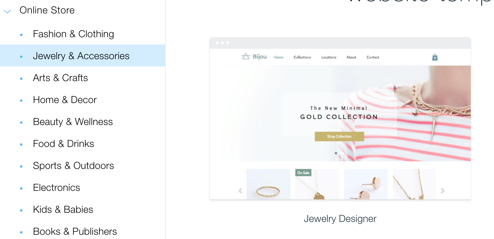 website design, wix, jewelry website template