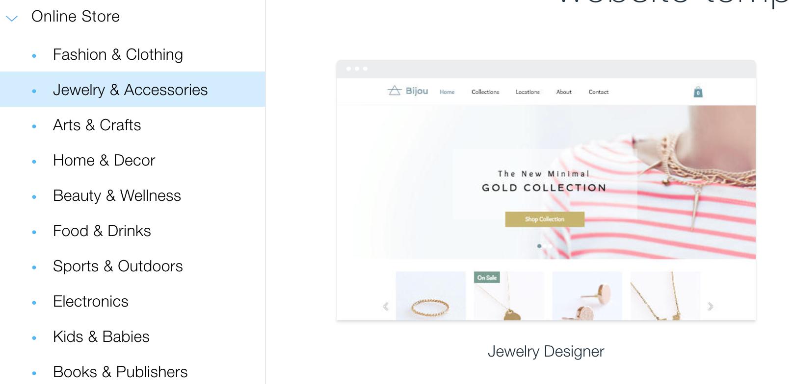 website design, wix, jewelry website template