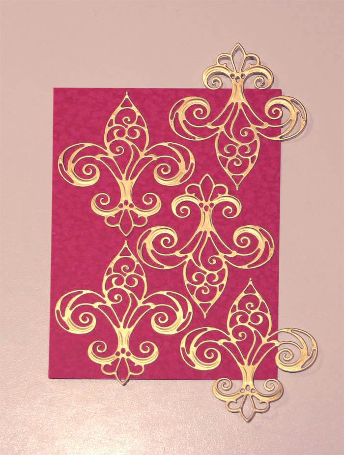 Fleur de France Cards with Nested Etched Dies by Yvonne Van de Grijp Second Card Step 1